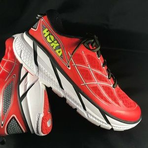 Mint Condition HOKA ONE ONE Clifton 2 Red Black Wh